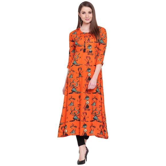 FLARED ORANGE PRINTED RAYON LONG KURTA