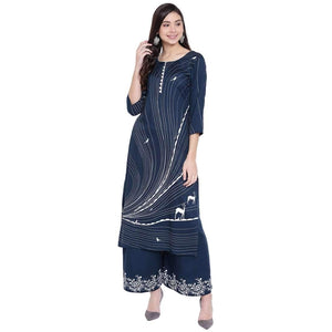 RAYON PRINTED KURTA AND PALAZZO SET