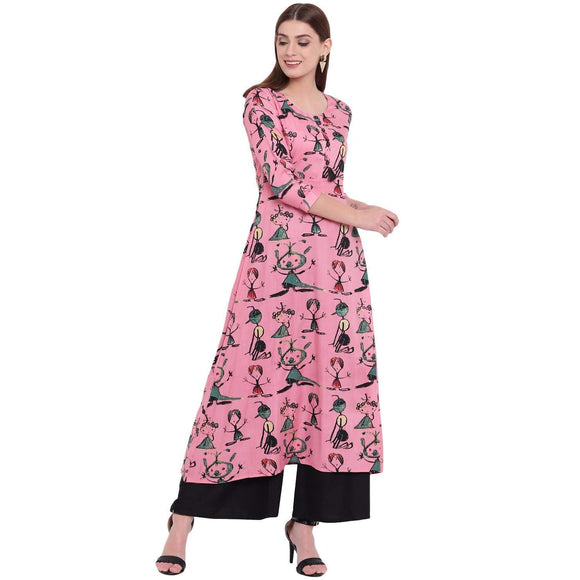 LOPA FLARED PINK PRINTED RAYON LONG KURTA