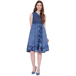 STYLISH FIT & FLARE BLUE DENIM MIDI DRESS