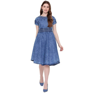 STYLISH SIDE CUT SLEEVES FIT & FLARE BLUE DENIM MIDI DRESS