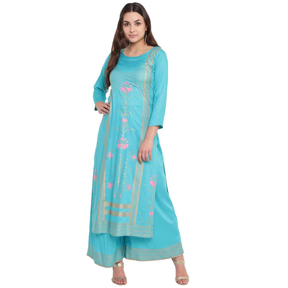 FOIL PRINTED STRAIGHT FIT STYLISH KURTA AND FLARED PRINTED PALAZZO SET