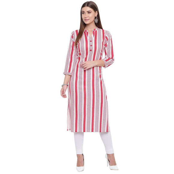 LOPA WOMEN'S STRIPES PRINTED STRAIGHT FIT RAYON CALF LONG KURTA