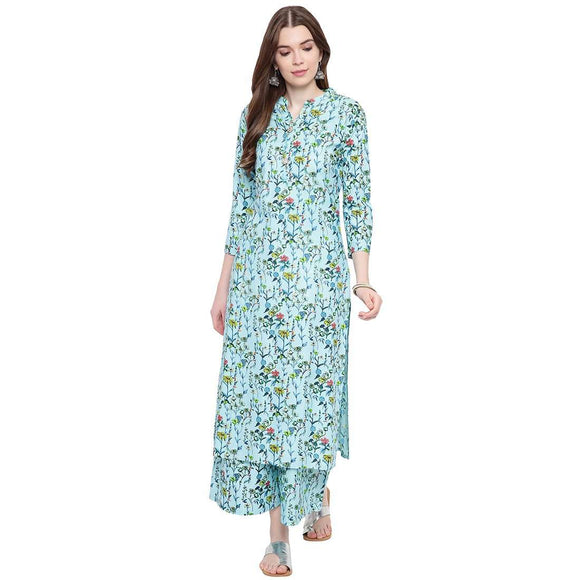 WOMEN'S STYLISH STRAIGHT FIT PRINTED KURTA AND PALAZZO SET