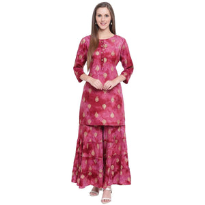 WOMEN'S STYLISH MAROON FOIL PRINTED KNEE LENGTH STRAIGHT FIT KURTA AND SHARARA SET - Pinky Pari