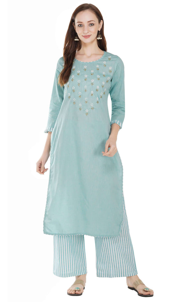 Women Kurta and Palazzo Set Pure Cotton