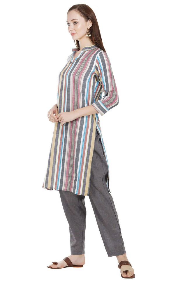 Women Kurta and Pant Set Pure Cotton