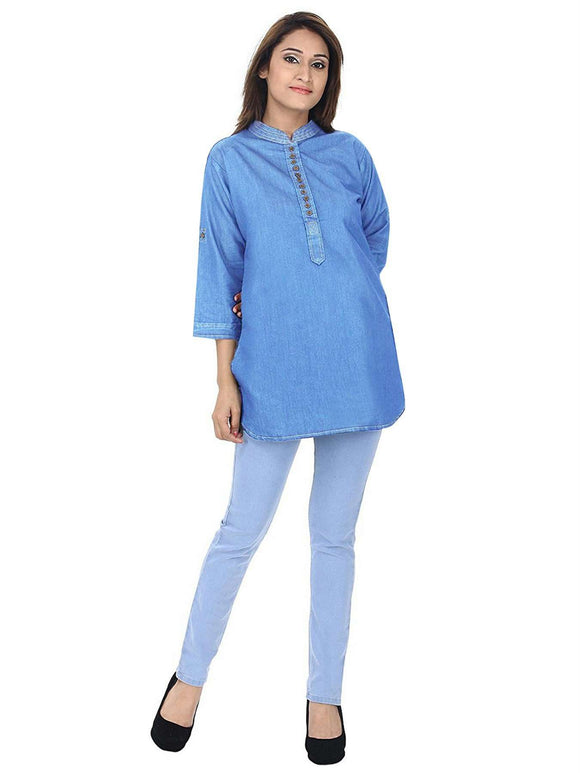 DENIM SOLID LIGHT BLUE STYLISH SHORT KURTI