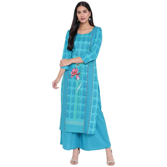 LOPA TURQUOISE RAYON STRAIGHT STITCHED SUIT