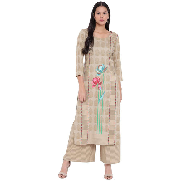 LOPA BEIGE RAYON STRAIGHT KURTA AND FLARED PALAZZO SET