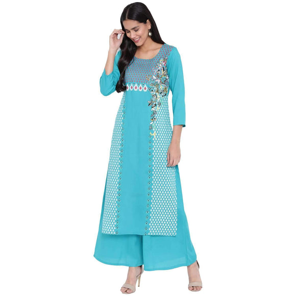 RAYON SCREEN PRINTED STRAIGHT FIT KURTA AND PALAZZO SET