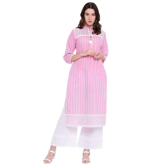 PINKY PARI PINK COTTON STRAIGHT STITCHED SET