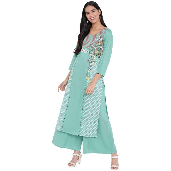 PINKY PARI RAYON SCREEN PRINTED STRAIGHT FIT KURTA AND PALAZZO SET