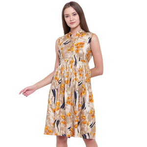 PINKY PARI FIT AND FLARE RAYON PRINTED MIDI DRESS