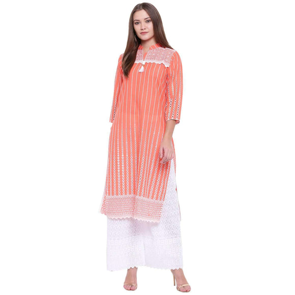 PINKY PARI CHIKANKARI STRAIGHT KURTA AND PALAZZO SET
