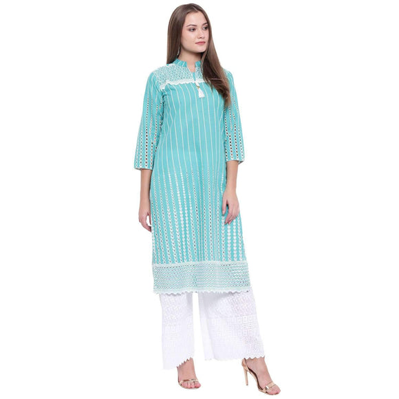 LOPA TURQUOISE COTTON STRAIGHT STITCHED SUIT
