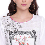 WHITE RAYON PRINTED STRAIGHT KURTI