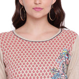 PINKY PARI SCREEN PRINTED RAYON BEIGE COLOR STRAIGHT FIT KURTA