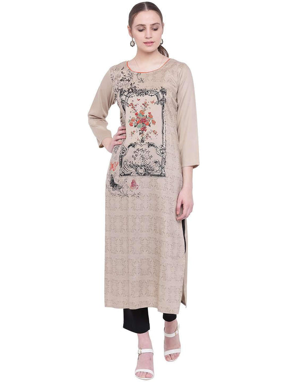 PRINTED RAYON STRAIGHT FIT KURTI