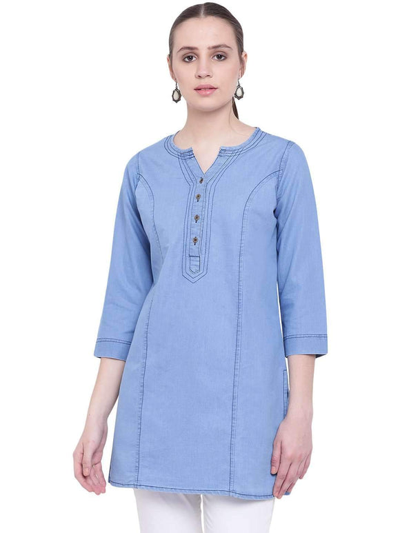SHORT BLUE DENIM KURTI