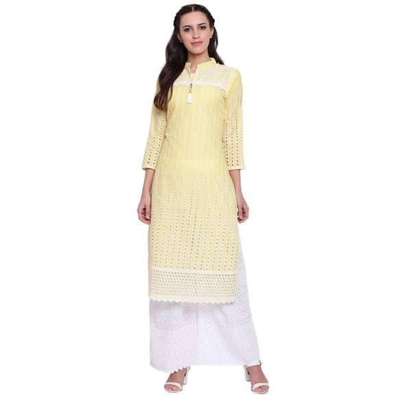 LOPA YELLOW RAYON STRAIGHT STITCHED SUIT
