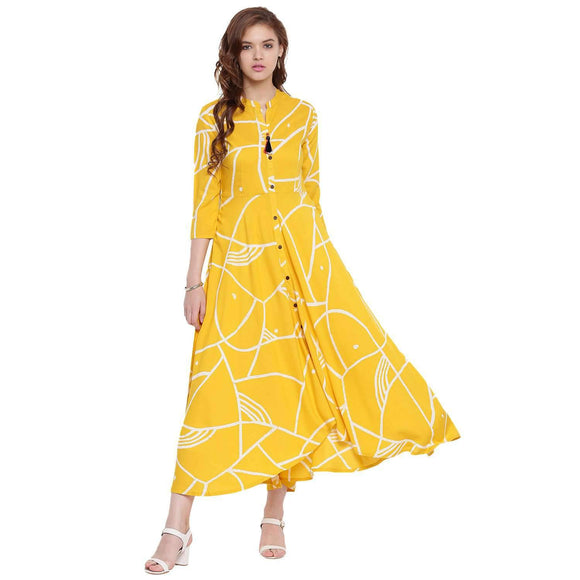 WOMEN PRINTED LONG FLARED RAYON STYLISH  KURTI