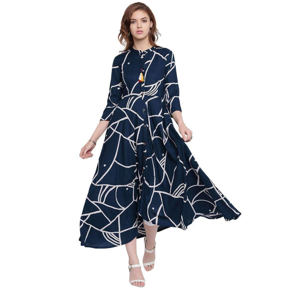 PRINTED LONG FLARED RAYON STYLISH KURTI