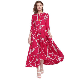 PRINTED LONG FLARED RAYON KURTI
