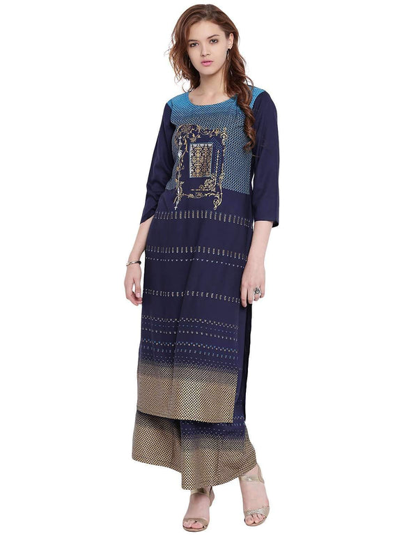 BLUE RAYON STRAIGHT FIT PRINTED KURTA AND PALAZZO SET