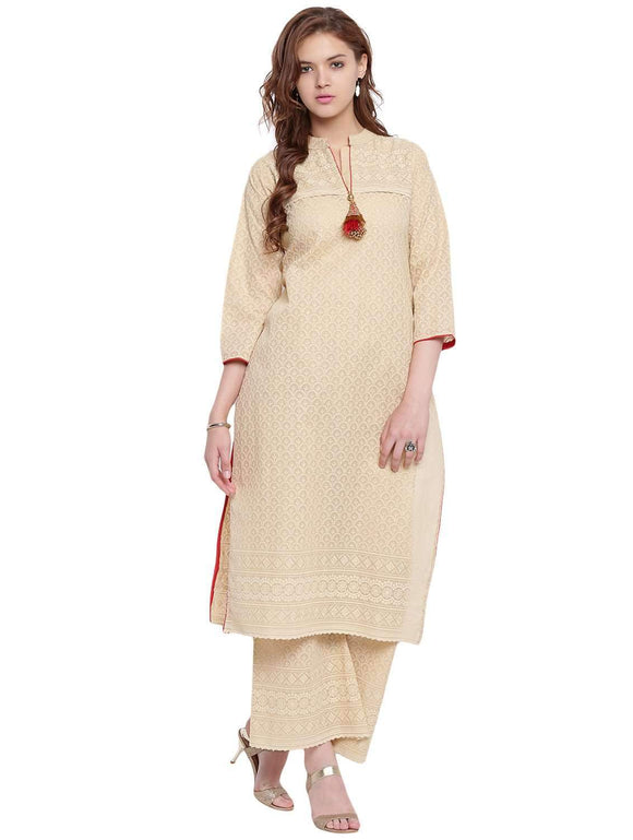 BEIGE FULL EMBROIDERED COTTON STRAIGHT STITCHED SUIT