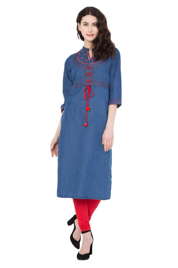 DENIM BLUE STYLISH STRAIGHT FIT EMBROIDERED BLUE KURTI