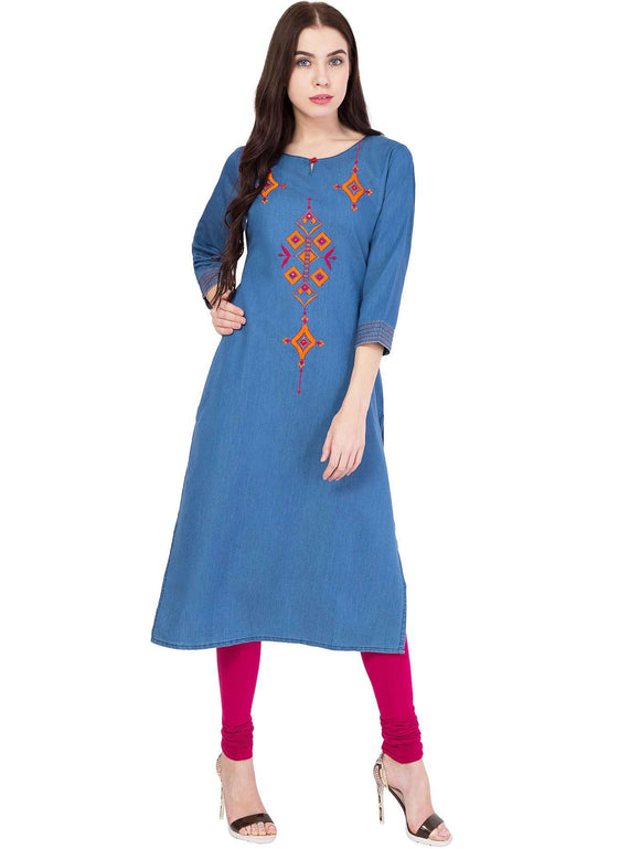 DENIM EMBROIDERED STRAIGHT FIT KURTI