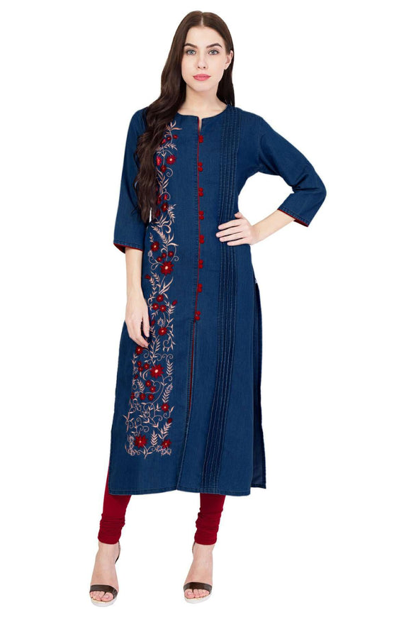 DENIM EMBROIDERED DARK BLUE FRONT SLIT KURTA - Pinky Pari