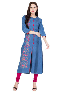 DENIM EMBROIDERED LIGHT BLUE FRONT SLIT KURTA