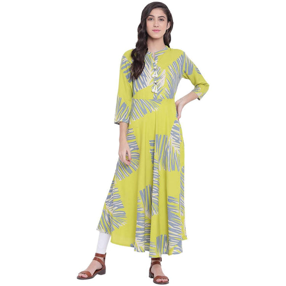 LOPA GREEN RAYON FLARED PRINTED KURTA