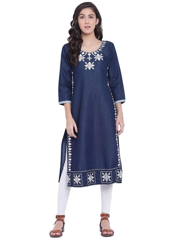 DENIM EMBROIDERED BLUE STRAIGHT FIT KURTA