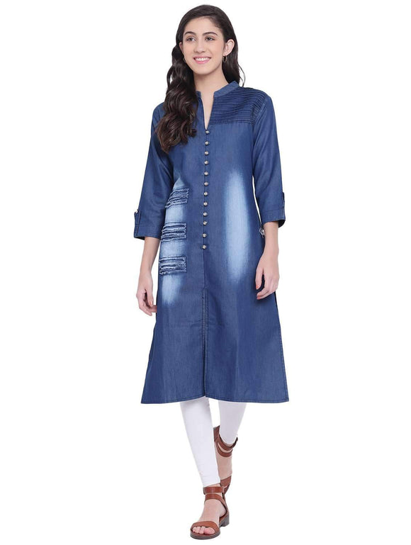 PINKY PARI ROUGH DENIM STRAIGHT FIT BAND COLLAR KURTA