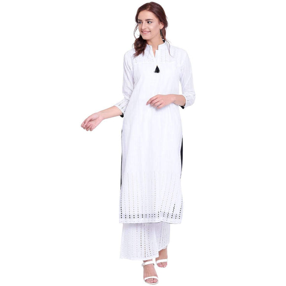 PINKY PARI WHITE COTTON STRAIGHT STITCHED SUIT