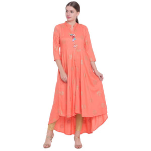 FOIL PRINT RAYON LONG FLARED KURTA