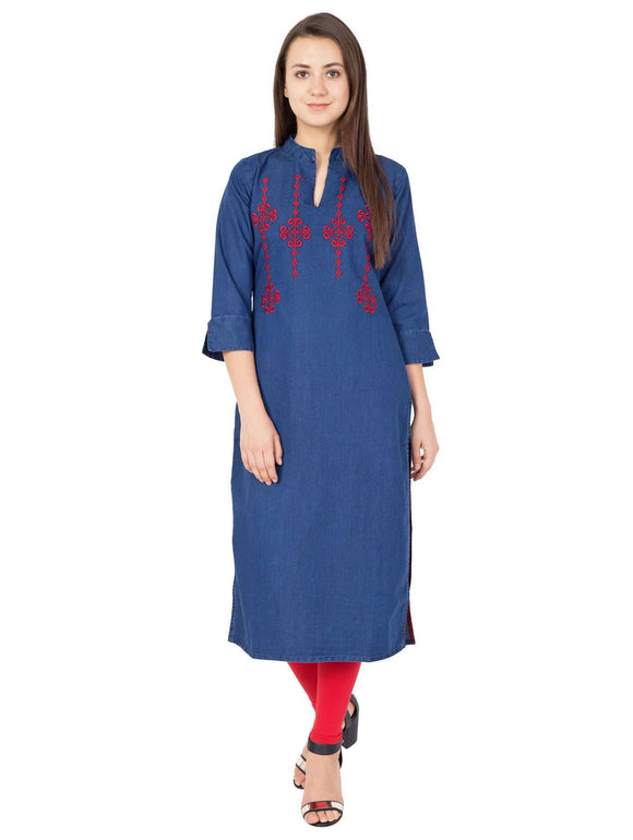 BLUE DENIM EMBROIDERED KURTI