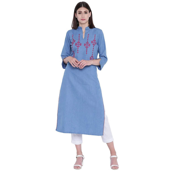 PINKY PARI BLUE DENIM EMBROIDERED KURTI