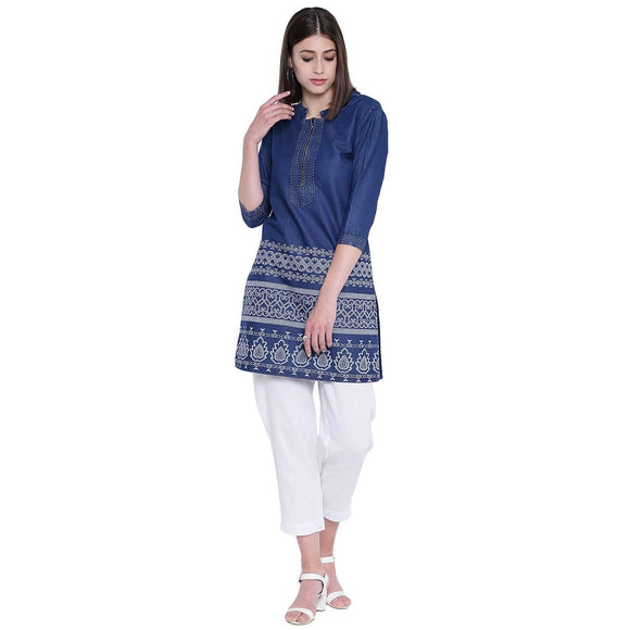 PINKY PARI BLUE DENIM STRAIGHT KURTA