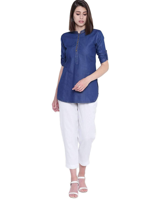 DENIM SOLID BLUE STYLISH SHORT KURTI