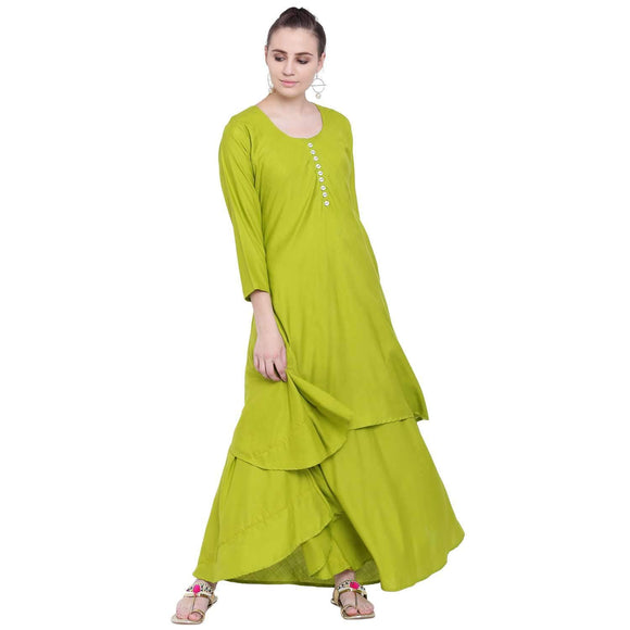 PINKY PARI GREEN RAYON DOUBLE LAYERED KURTI