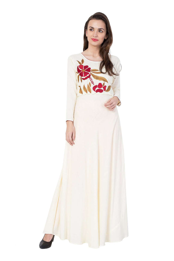 RAYON OFF- WHITE EMBROIDERED STYLISH MAXI DRESSES