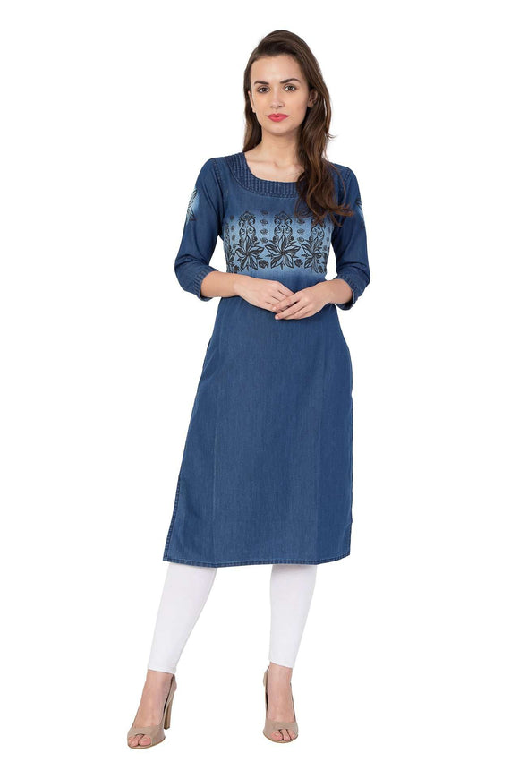 PRINTED BLUE DENIM STYLISH KURTI