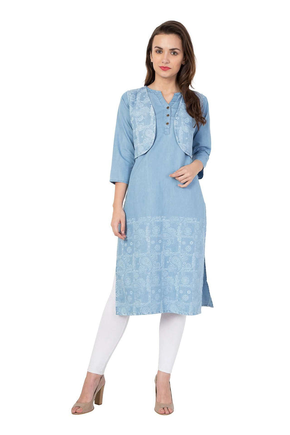 LIGHT BLUE DENIM PRINTED STRAIGHT FIT KURTA WITH SHORT STYLISH JACKET
