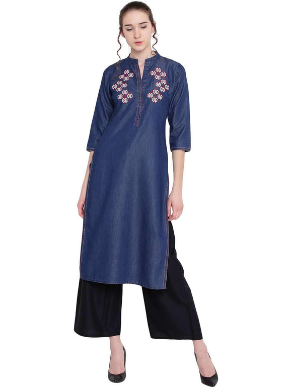DENIM BLUE EMBROIDERED STRAIGHT KURTI