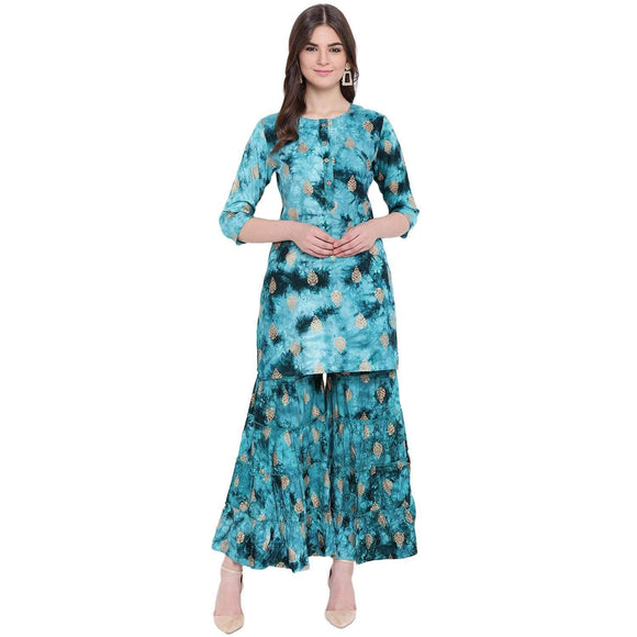 WOMEN'S STYLISH TURQUOISE PRINTED STRAIGHT FIT KURTA AND SHARARA SET