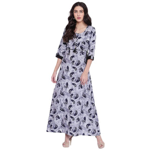 PINKY PARI GREY PRINTED RAYON LONG FLARED KURTA